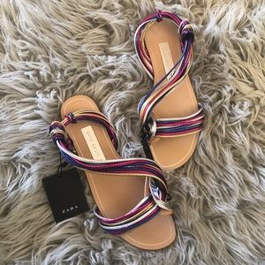Zara multi-colored strap sandals flats